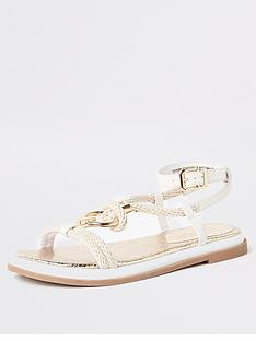 78ef3c452a2 River Island River Island Rope Ring Flat Sandals - White