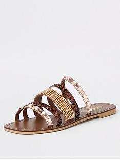 25f09765b0d River Island River Island Leather Multi Strap Embellished Sandal - Brown