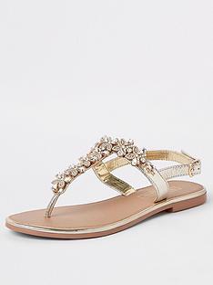 f8d4445ee5 River Island River Island Leather Embellished Sandal - Gold