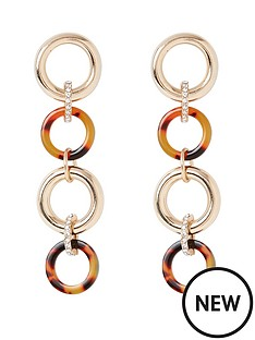 river-island-river-island-tort-mix-drop-earrings-gold