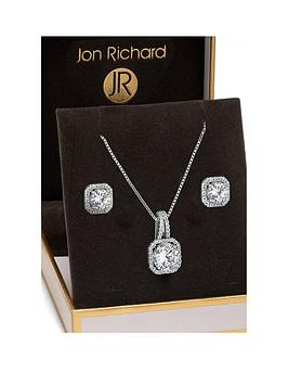 jon-richard-jon-richard-silver-plated-crystal-square-halo-pendant-and-earrings-set