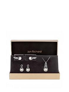 jon-richard-jon-richard-silver-plated-crystal-and-pearl-infinity-pendant-bracelet-and-earrings-set
