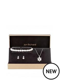 jon-richard-jon-richard-silver-pearl-and-crystal-cluster-pendant-bracelet-and-earrings-set