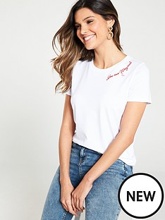 78ffb865064 V by Very You Are Magical  Embroidered Slogan T-Shirt – White