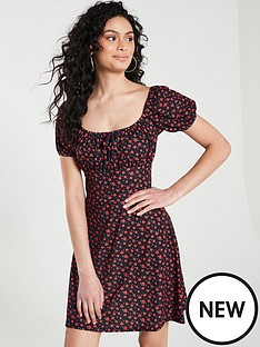 v-by-very-ruched-bust-floral-print-tea-dress-ndash-red