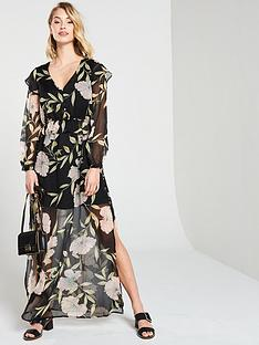 7bf540a36b0 River Island River Island Floral Frill Maxi Dress- Black