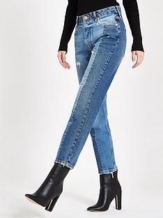 09354414e7e River Island Block Slim Fit Jeans- Blue