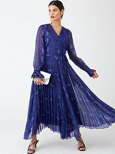 v-by-very-pleated-skirt-midi-dress-blue-snake-print