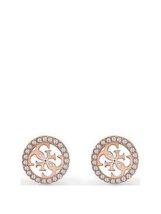 guess-guess-tropical-sun-rose-gold-crystal-set-logo-ladies-stud-earrings