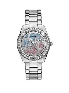 guess-guess-g-twist-pink-and-blue-logo-dial-stainless-steel-bracelet-ladies-watch