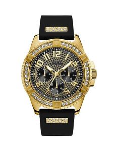 guess-guess-frontier-gold-and-black-crystal-set-multi-dial-black-silicone-strap-mens-watch