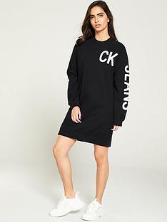 calvin-klein-jeans-logo-knit-sweatshirt-dress-black