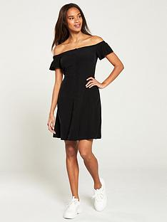 calvin-klein-jeans-flared-off-shoulder-dress-black