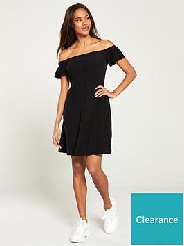 calvin-klein-jeans-flared-off-shoulder-dress-black
