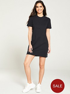 calvin-klein-jeans-tape-logo-t-shirt-dress-black