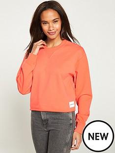 calvin-klein-jeans-raw-hem-crew-neck-sweatshirt-coral