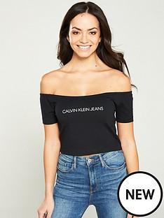 calvin-klein-jeans-institutional-logo-bardot-top-black