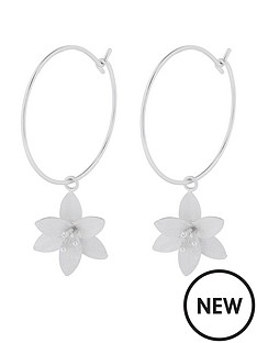 accessorize-brushed-lily-charm-hoop-earrings-silver