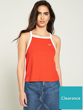 tommy-jeans-ribbed-racer-neck-vest-top-red