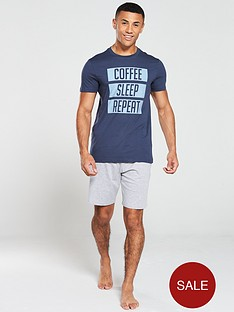 v-by-very-slogan-pyjama-jersey-short-set-navygrey