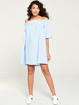 tommy-jeans-summer-off-the-shoulder-dress-blue-stripe
