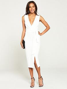 v-by-very-knot-front-stretch-bodycon-dress-ivory