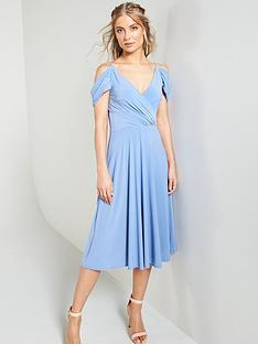 bb696c29759c V by Very Occasion Cold Shoulder Jersey Midi Dress - Powder Blue