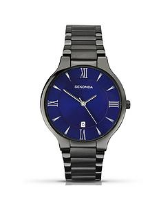sekonda-sekonda-blue-sunray-date-dial-black-stainless-steel-bracelet-mens-watch