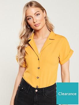 v-by-very-turnback-short-sleeve-casual-shirt-mustard