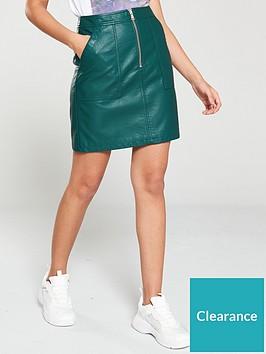 v-by-very-pu-zip-detail-mini-skirt-green