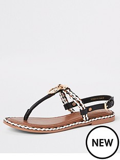 466f112f91b River Island River Island Ring And Rope Leather Sandal - Black