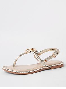 0849cb283e1 River Island River Island Ring And Rope Leather Sandal - Nude