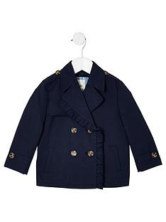 01f898902e67 River Island Mini Girls crop trench coat - navy