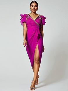 virgos-lounge-virgos-lounge-frill-sleeve-embellished-midi-dress