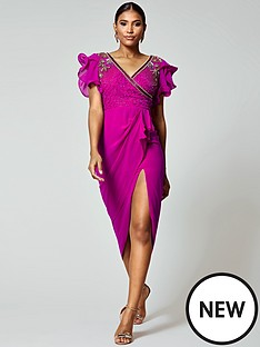 bf3886f268e Virgos Lounge Virgos Lounge Frill Sleeve Embellished Midi Dress