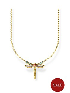 thomas-sabo-thomas-sabo-18k-gold-plated-sterling-silver-multicoloured-dragonfly-pendant-necklace