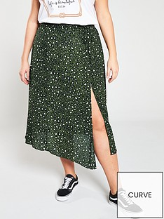 28e08f2f8a V by Very Curve Printed Side Split Skirt - Animal