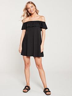 v-by-very-bandeau-frill-beach-dress-black