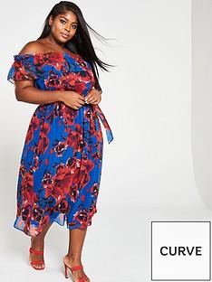 00eb3fc709 V by Very Curve Curve Bardot Print Chiffon Midi Dress - Floral Print