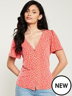 oasis-pansy-print-button-through-jersey-blouse-orange