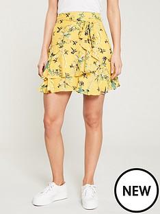 oasis-botanical-bird-frill-mini-skirt-multi