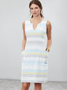 joules-elayna-dress-bluegreylemon-stripe