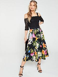 72f29ec7231 V by Very Lace Top Printed Scuba Prom Dress - Black Floral
