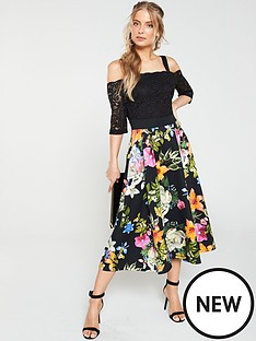 a5ee9f75d8c V by Very Lace Top Printed Scuba Prom Dress - Black Floral
