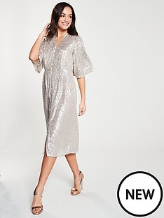 f8d74585c76 River Island River Island Sequin Kimono Dress - Silver