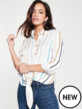 54946c9c271a9f River Island Stripe Wrap Blouse - White | littlewoodsireland.ie