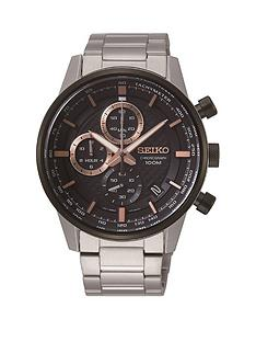 seiko-seiko-black-and-rose-gold-detail-chronograph-dial-stainless-steel-bracelet-mens-watch