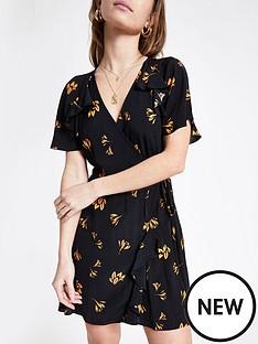 ri-petite-floral-print-tea-dress--black