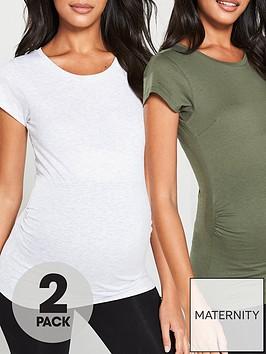 v-by-very-valuenbsp2-pack-maternity-tees-grey-marl-amp-khaki