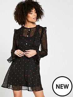 river-island-river-island-heart-print-ruffle-tea-dress--black